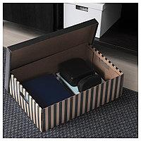 ПИНГЛА Коробка с крышкой, черный, естественный, 2шт, бежевый, черный