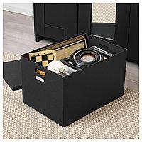 ТЬЕНА Коробка с крышкой, черный, черный 35x50x30 см