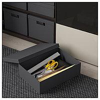 ТЬЕНА Коробка с крышкой, черный, черный 25x35x10 см