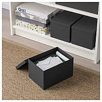 ТЬЕНА Коробка с крышкой, черный, черный 18x25x15 см