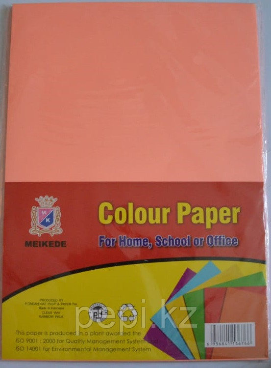 Бумага A4,80гр/100л. персиковый неон