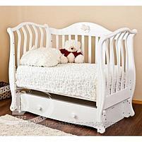 Детская кровать Юлиана,цвет белы(Птички),слоновая кость(мишка на облаке), фото 2