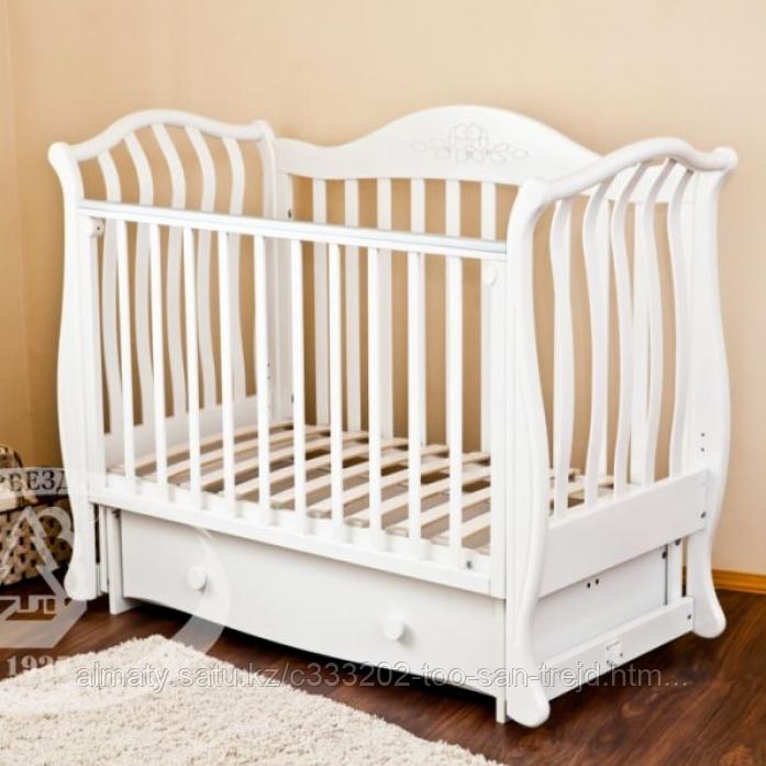 Детская кровать Юлиана,цвет белы(Птички),слоновая кость(мишка на облаке)