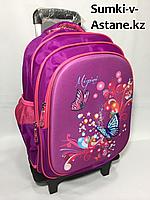 Школьный рюкзак на колесах для девочек,с 1-го по 3-й класс.Высота 46 см, ширина 28 см, глубина 22 см., фото 1