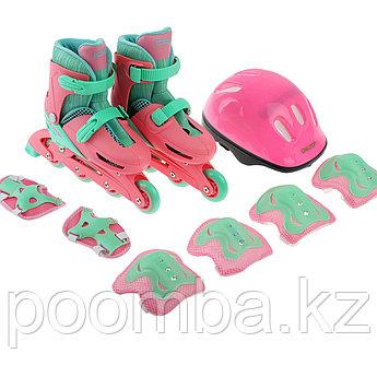 Детские роликовые коньки с комплектом защиты розовые 30-33