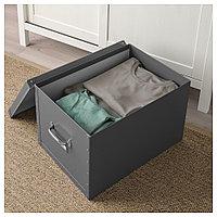 ФЬЕЛЛА Коробка с крышкой, темно-серый, темно-серый 35x56x30 см