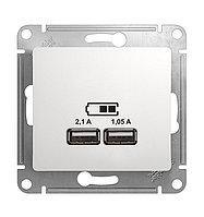 "S378 USB розетка - 2х5В/ 1050 мА с/у б/рамки ""GLOSSA"" белый GSL133 (1)"