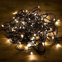 """Гирлянда новогодняя светодиодная """"Нить"""" - 10 метров, 80 лампочек, теплый свет, светит постоянно"""