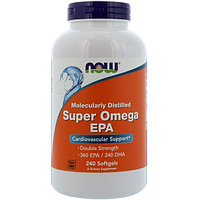 Супер Омега 2000 мг, ЕPA очищенная на молекулярном уровне, Now Foods, 240 мягких таблеток.