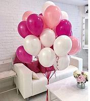 Гелиевые шары 20 штук. Белые, Фуксия, Розовые
