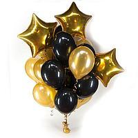 15 шаров + 3 звезды в Черно-Золотом цвете