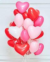 Сердечки шары гелиевые 20 штук