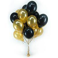 Гелиевые шары Черно-Золотые 15 штук