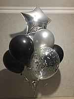 Облако Гелиевых шаров в Черно-Серебряном цвете с Звездой