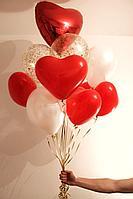 Связка шаров с гелиевыми Сердечками