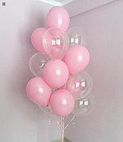 Розовые и Прозрачные шарики 15 штук