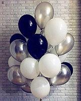 Связка гелиевых шаров в Черно-Серебряном цвете 20 штук