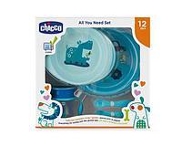 Chicco: Набор детской посуды (2тарелки, ложка, вилка, поильник) 12м+, голубой