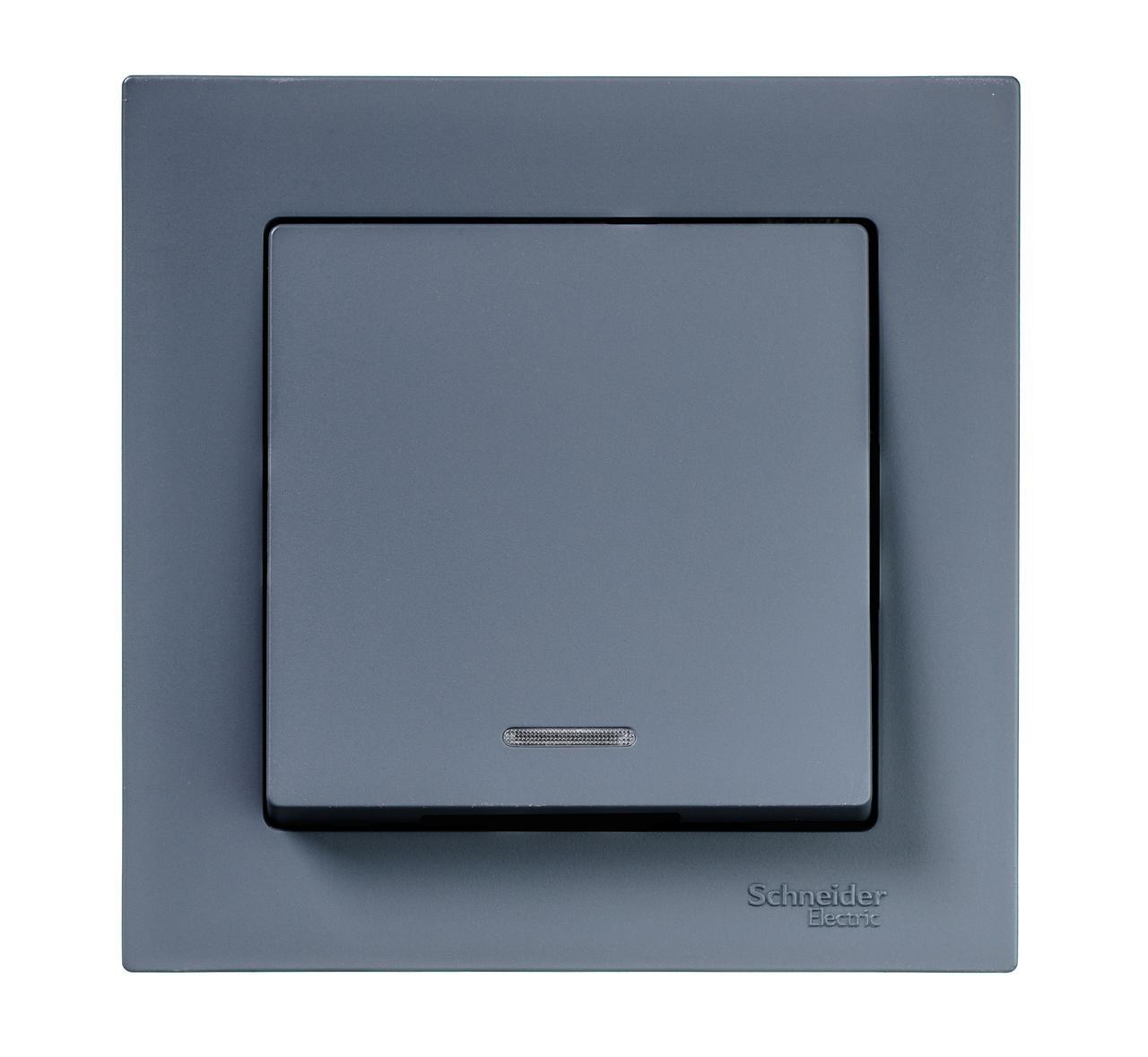 Выключатель 1-клавишный , с подсветкой , Грифель, серия Atlas Design, Schneider Electric