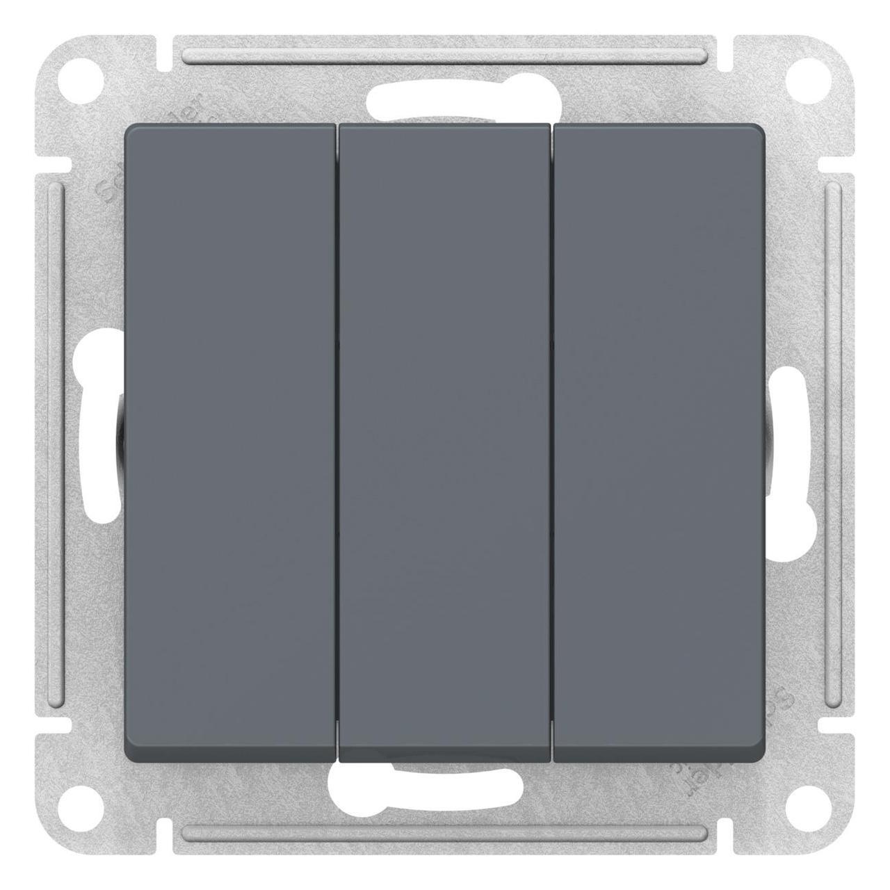 Выключатель 3-клавишный , Грифель, серия Atlas Design, Schneider Electric