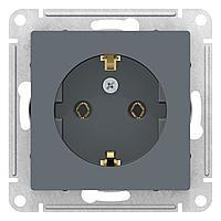 Розетка 1-ая электрическая , с заземлением (винтовой зажим) , Грифель, серия Atlas Design, Schneider Electric