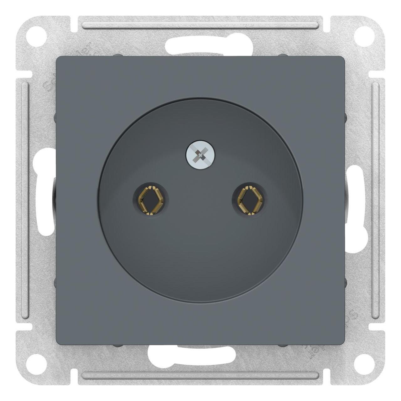 Розетка 1-ая электрическая без заземления , Грифель, серия Atlas Design, Schneider Electric