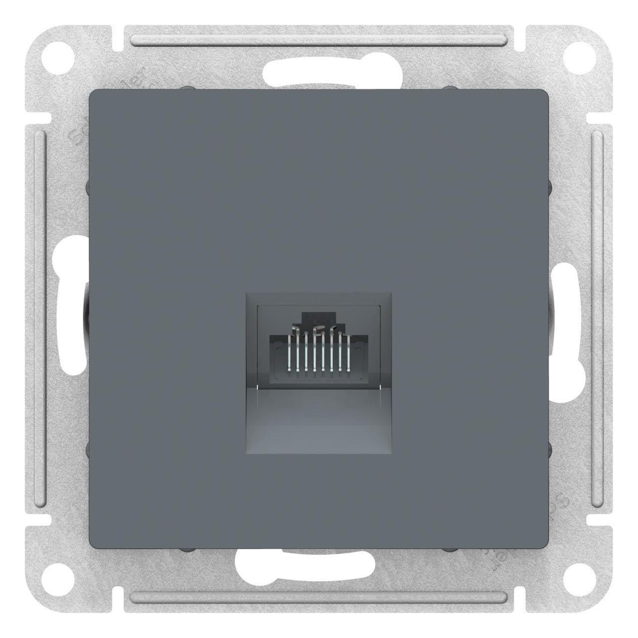 Розетка компьютерная 1-ая кат.5е, RJ-45 (интернет) , Грифель, серия Atlas Design, Schneider Electric