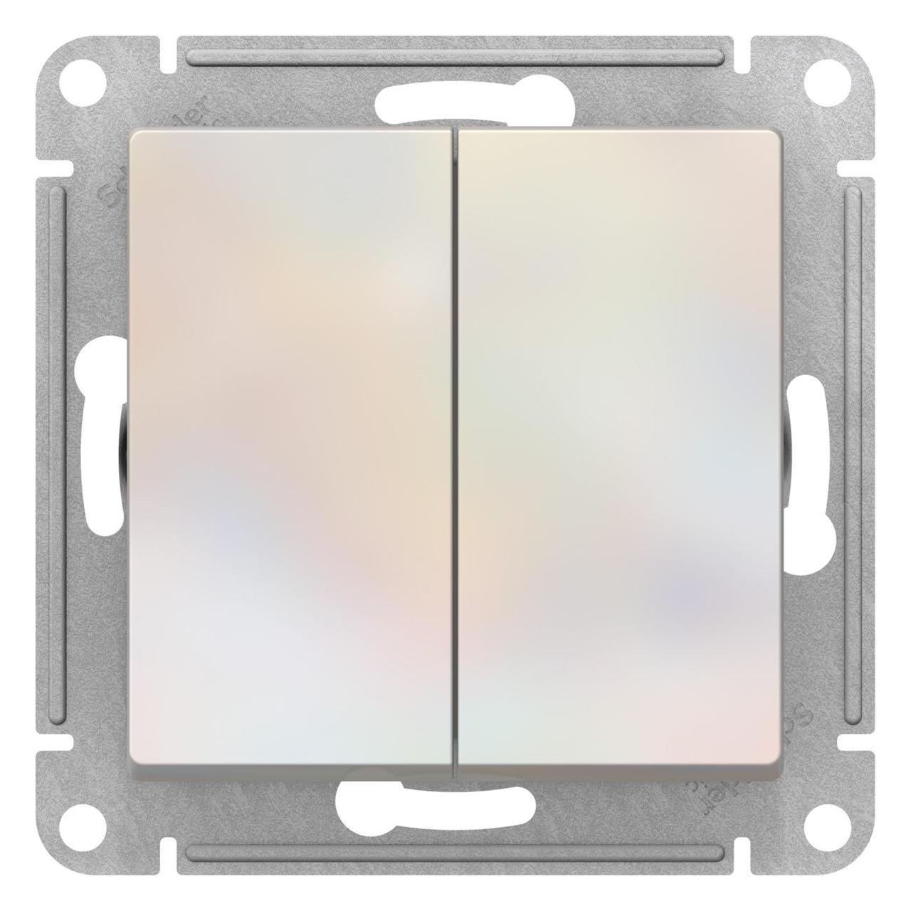 Выключатель 2-клавишный проходной (с двух мест) , Жемчуг, серия Atlas Design, Schneider Electric