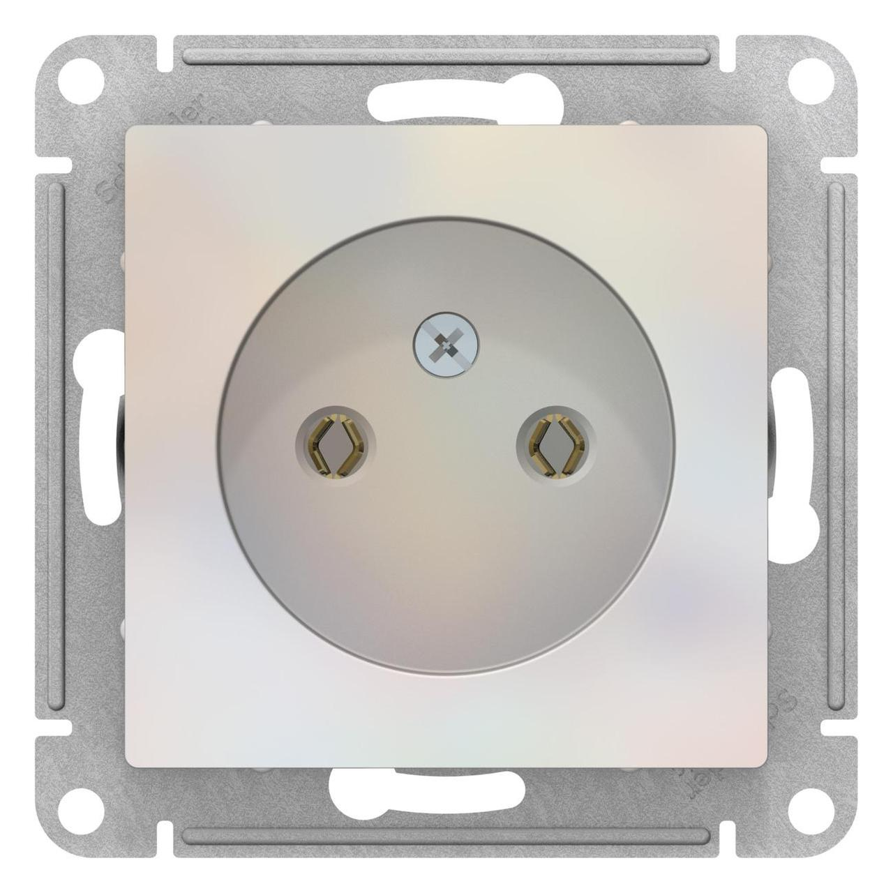 Розетка 1-ая электрическая без заземления , Жемчуг, серия Atlas Design, Schneider Electric