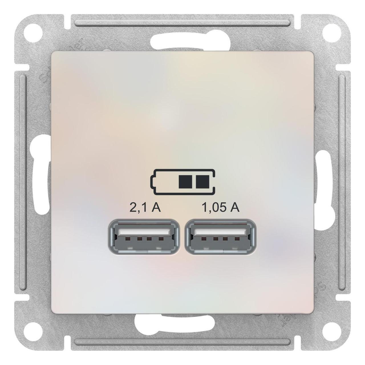 Розетка USB 2-ая 2100 мА (для подзарядки) , Жемчуг, серия Atlas Design, Schneider Electric