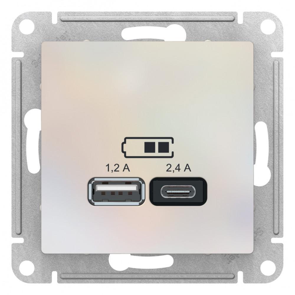 Розетка USB 2-ая тип А+С (для подзарядки) , Жемчуг, серия Atlas Design, Schneider Electric