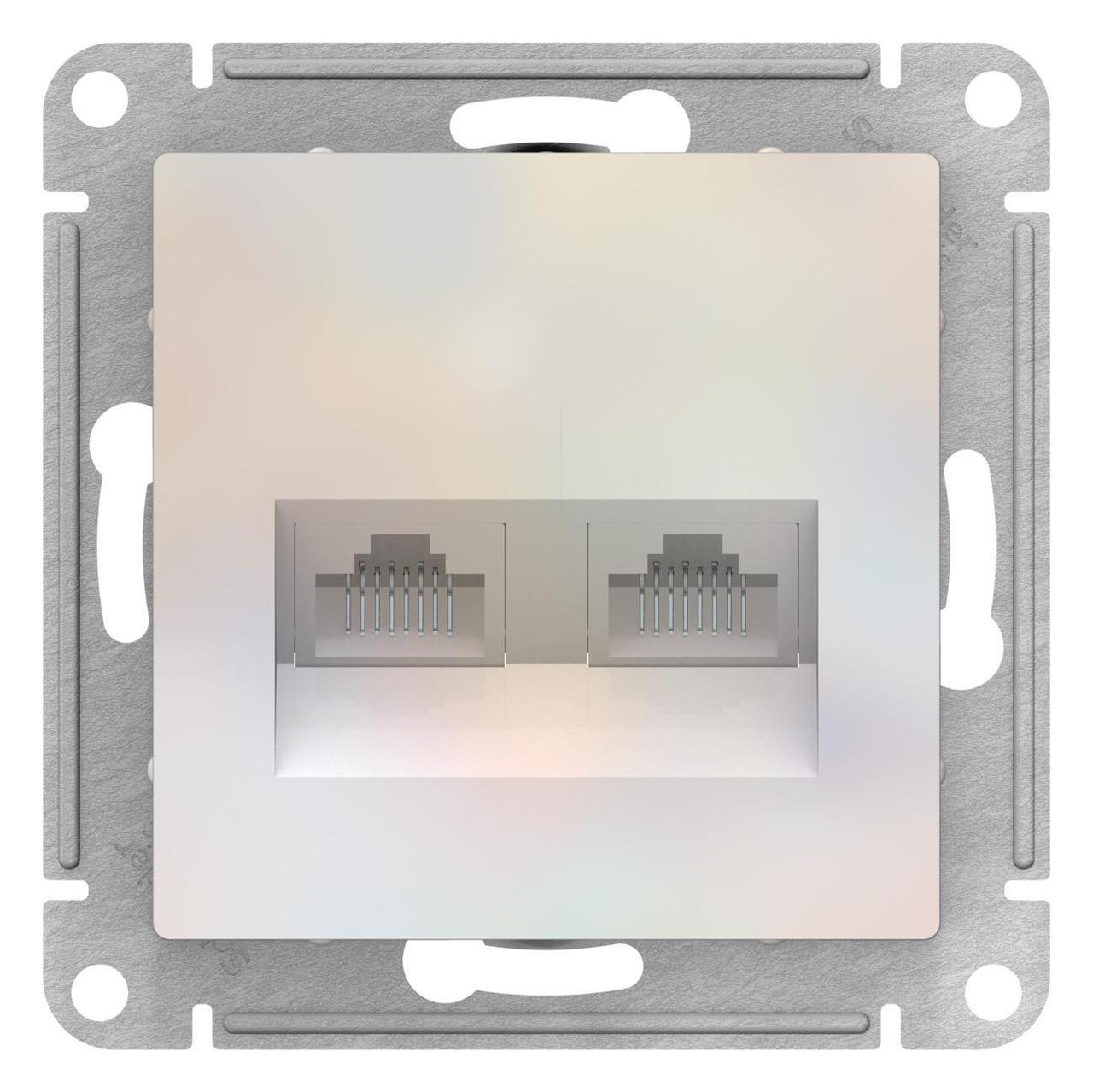 Розетка компьютерная 2-ая кат.5е, RJ-45 (интернет) , Жемчуг, серия Atlas Design, Schneider Electric