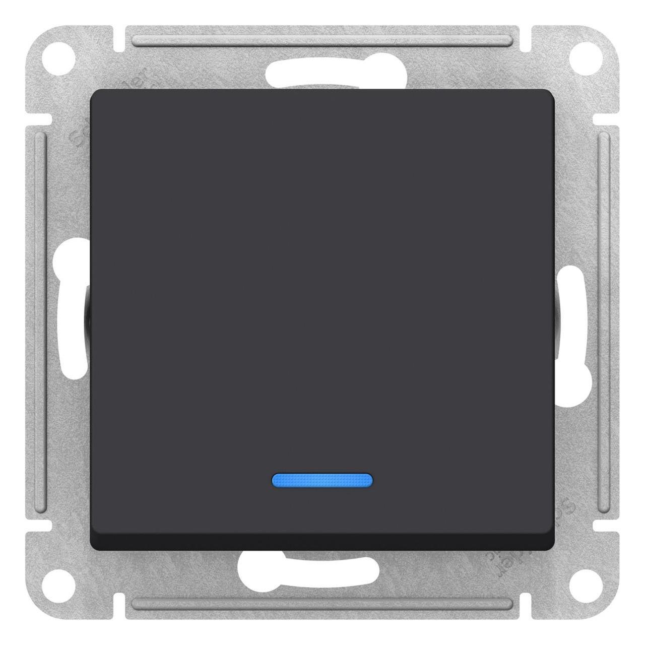 Выключатель 1-клавишный ,проходной с индикацией (с двух мест) , Карбон, серия Atlas Design, Schneider Electric