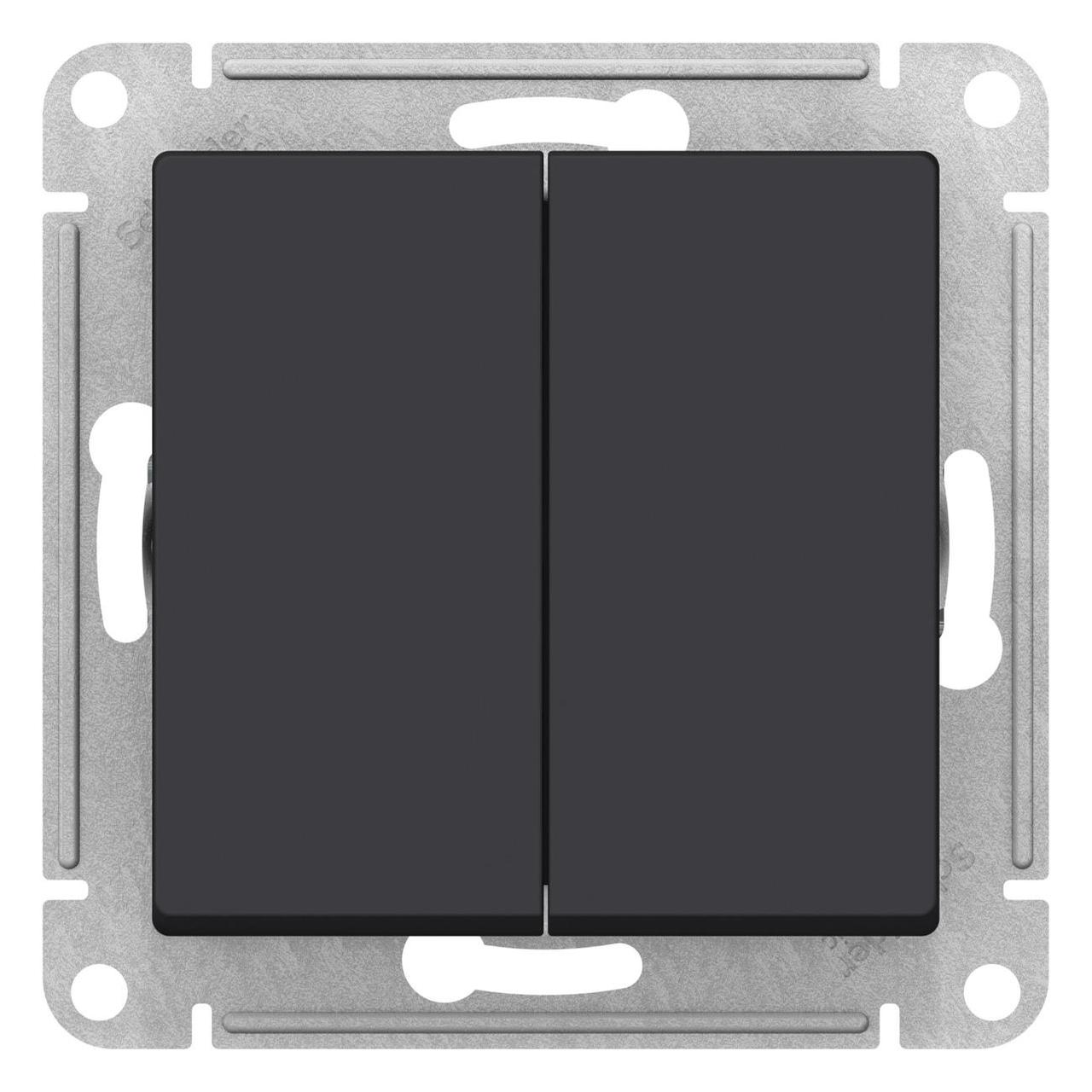 Выключатель 2-клавишный , Карбон, серия Atlas Design, Schneider Electric