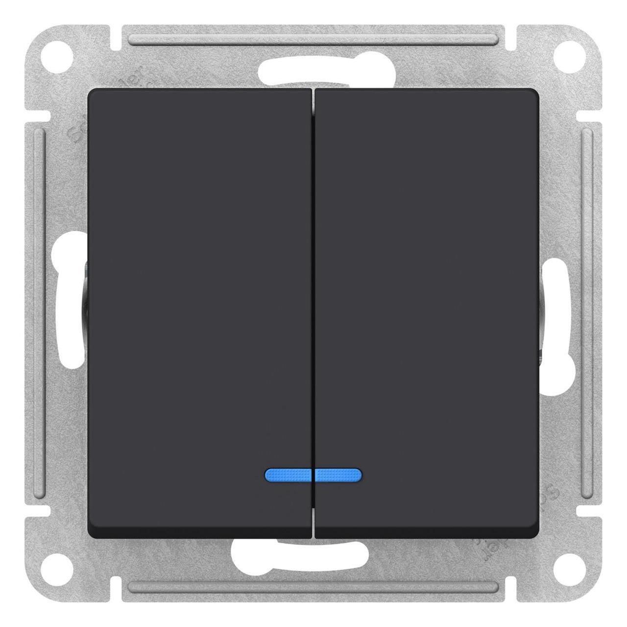 Выключатель 2-клавишный , с подсветкой , Карбон, серия Atlas Design, Schneider Electric