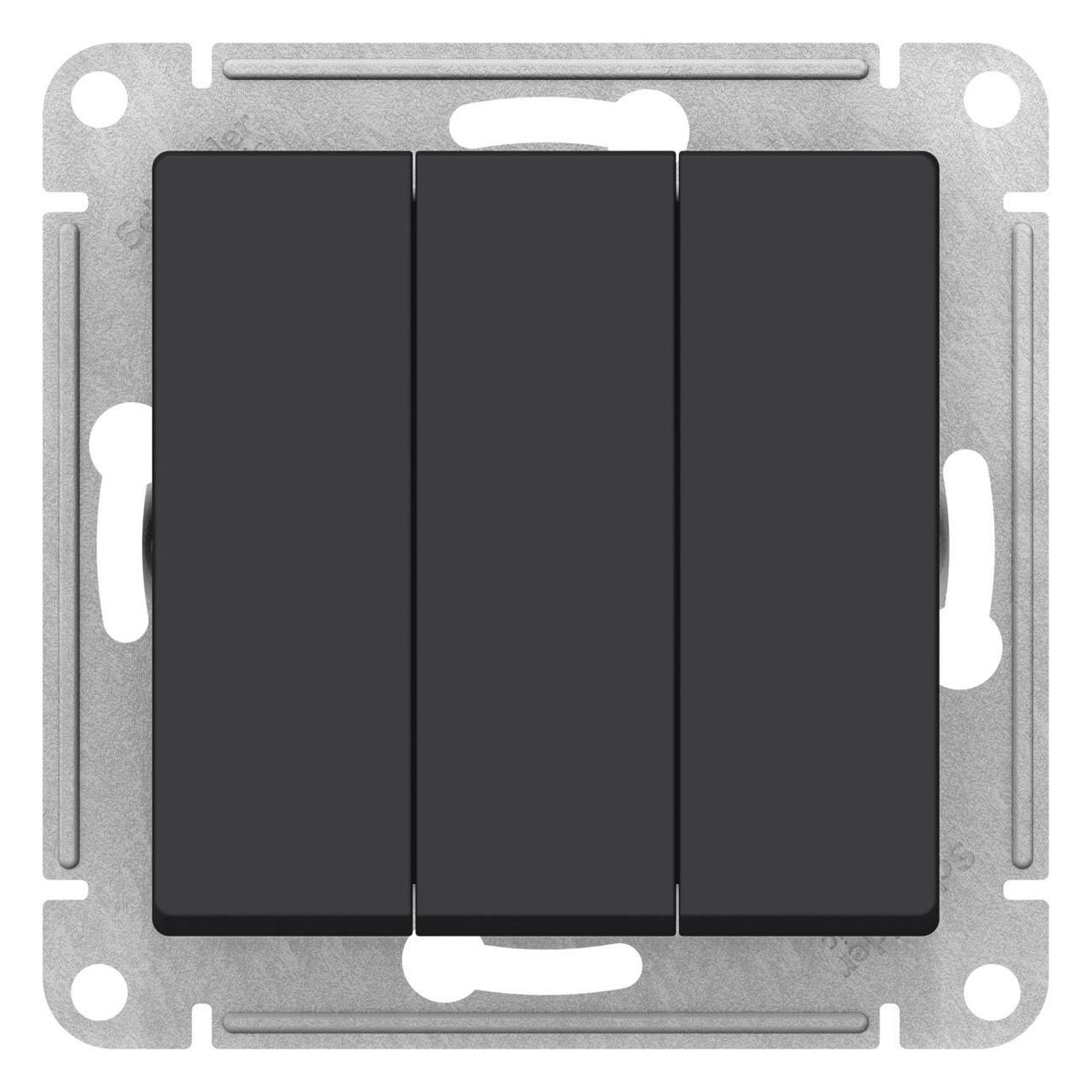 Выключатель 3-клавишный , Карбон, серия Atlas Design, Schneider Electric