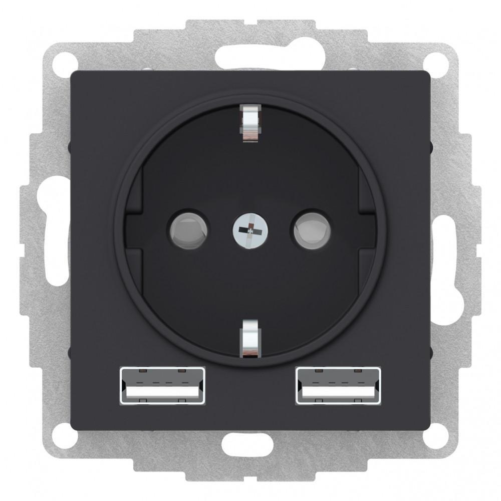 Розетка 1-ая электрическая , с заземлением, c USB , Карбон, серия Atlas Design, Schneider Electric