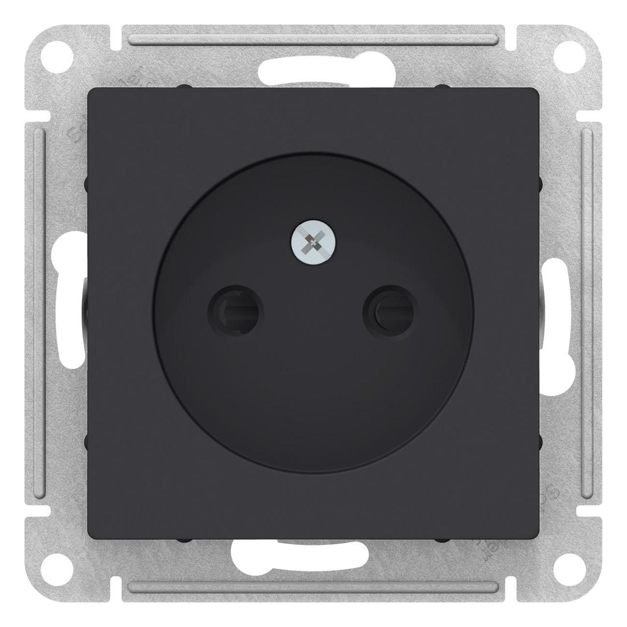 Розетка 1-ая электрическая без заземления с защитными шторками , Карбон, серия Atlas Design, Schneider
