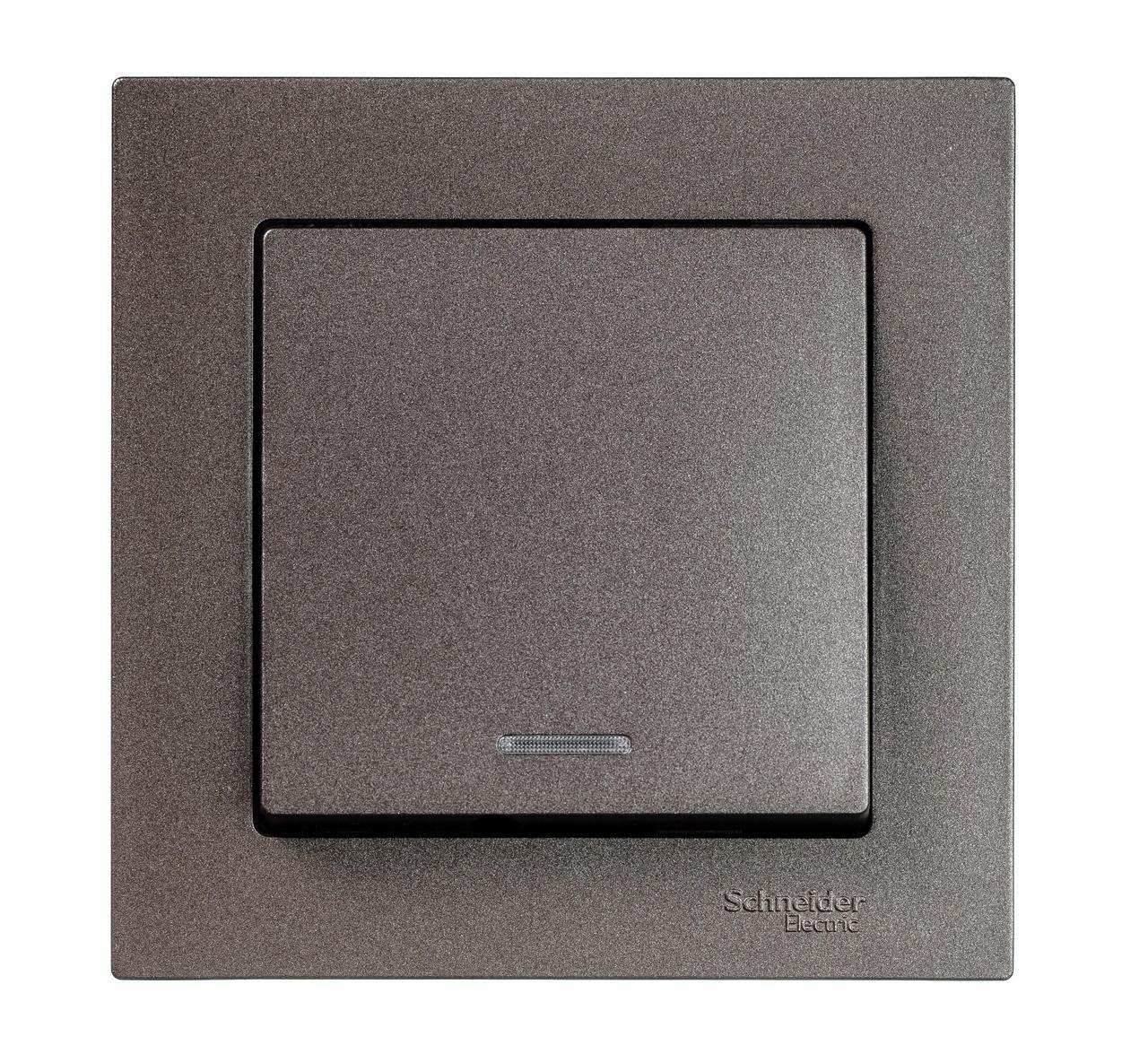 Выключатель 1-клавишный , с подсветкой , Мокко, серия Atlas Design, Schneider Electric