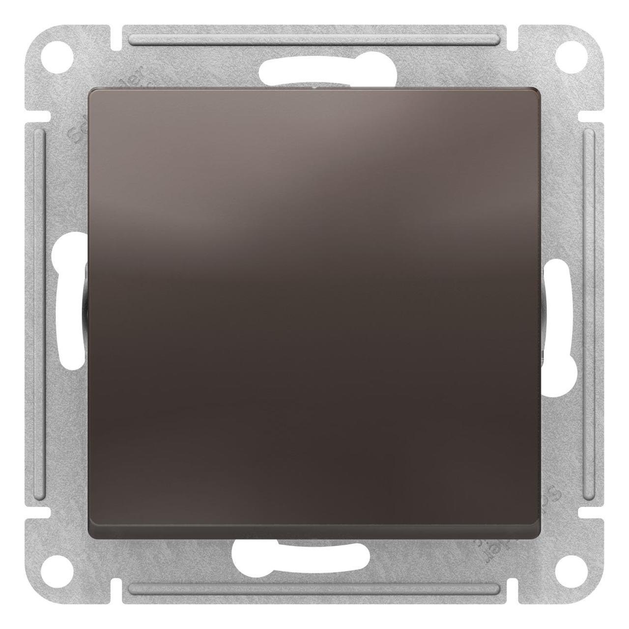 Выключатель 1-клавишный ,проходной (с двух мест) , Мокко, серия Atlas Design, Schneider Electric