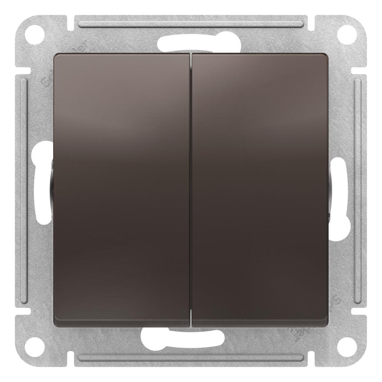 Выключатель 2-клавишный , Мокко, серия Atlas Design, Schneider Electric