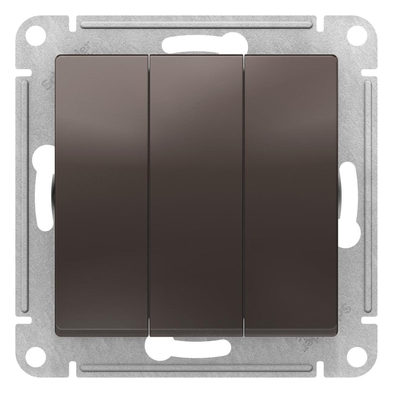 Выключатель 3-клавишный , Мокко, серия Atlas Design, Schneider Electric