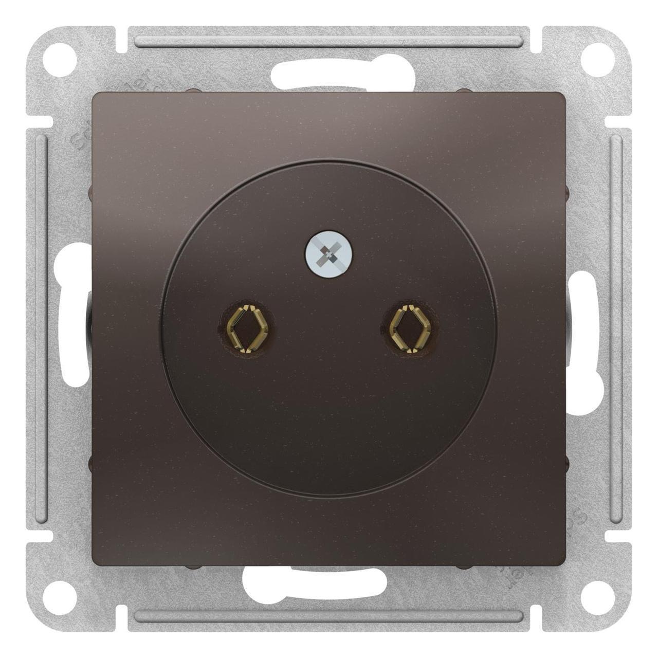 Розетка 1-ая электрическая без заземления , Мокко, серия Atlas Design, Schneider Electric