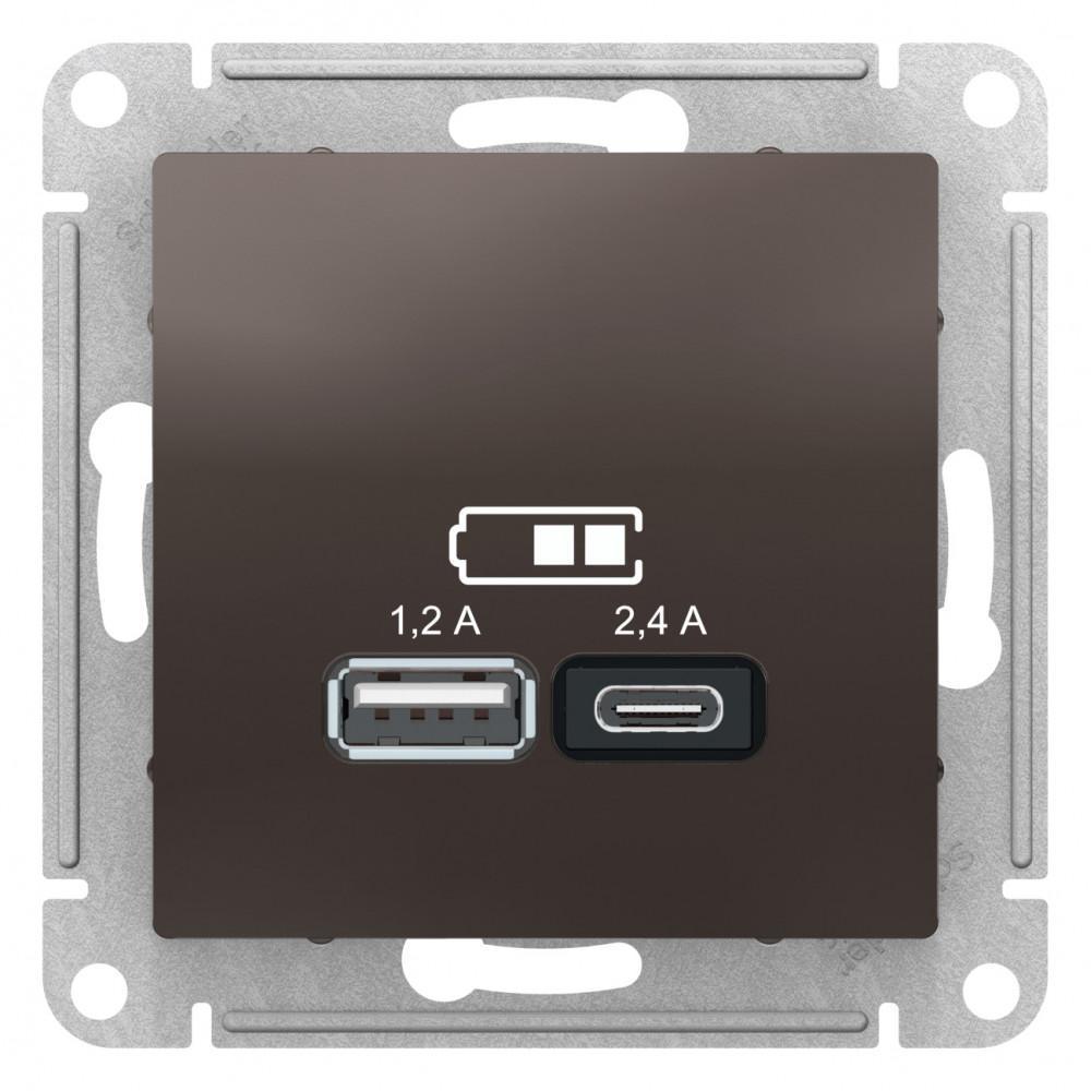 Розетка USB 2-ая тип А+С (для подзарядки) , Мокко, серия Atlas Design, Schneider Electric