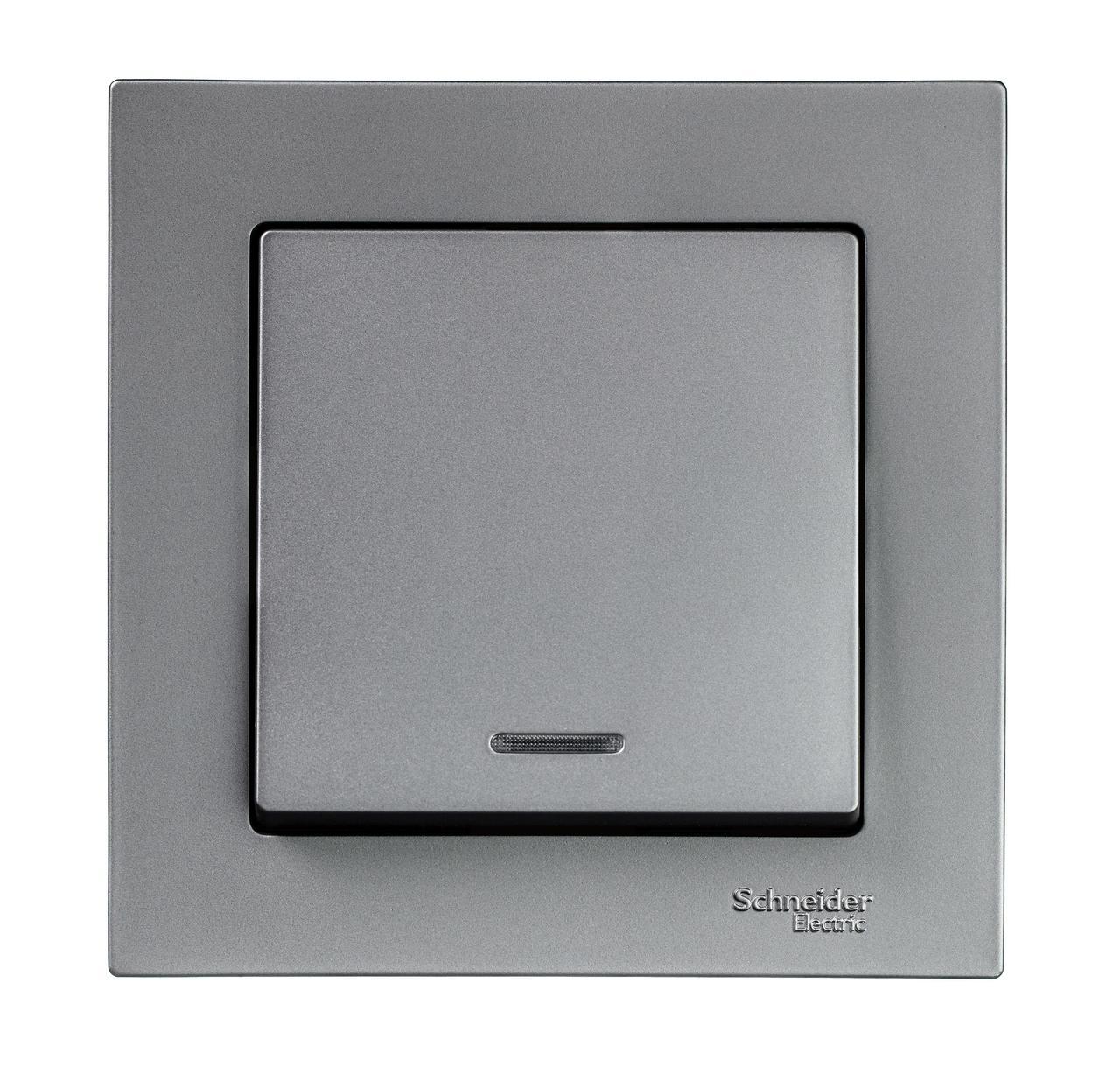 Выключатель 1-клавишный , с подсветкой , Сталь, серия Atlas Design, Schneider Electric