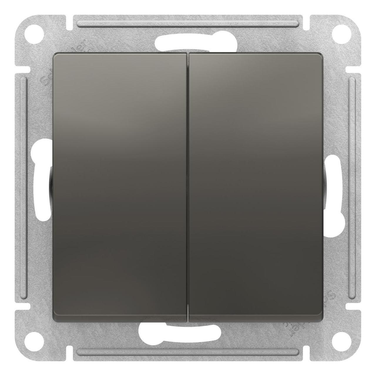 Выключатель 2-клавишный проходной (с двух мест) , Сталь, серия Atlas Design, Schneider Electric