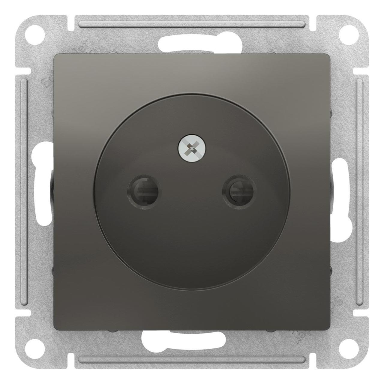 Розетка 1-ая электрическая без заземления с защитными шторками , Сталь, серия Atlas Design, Schneider Electric