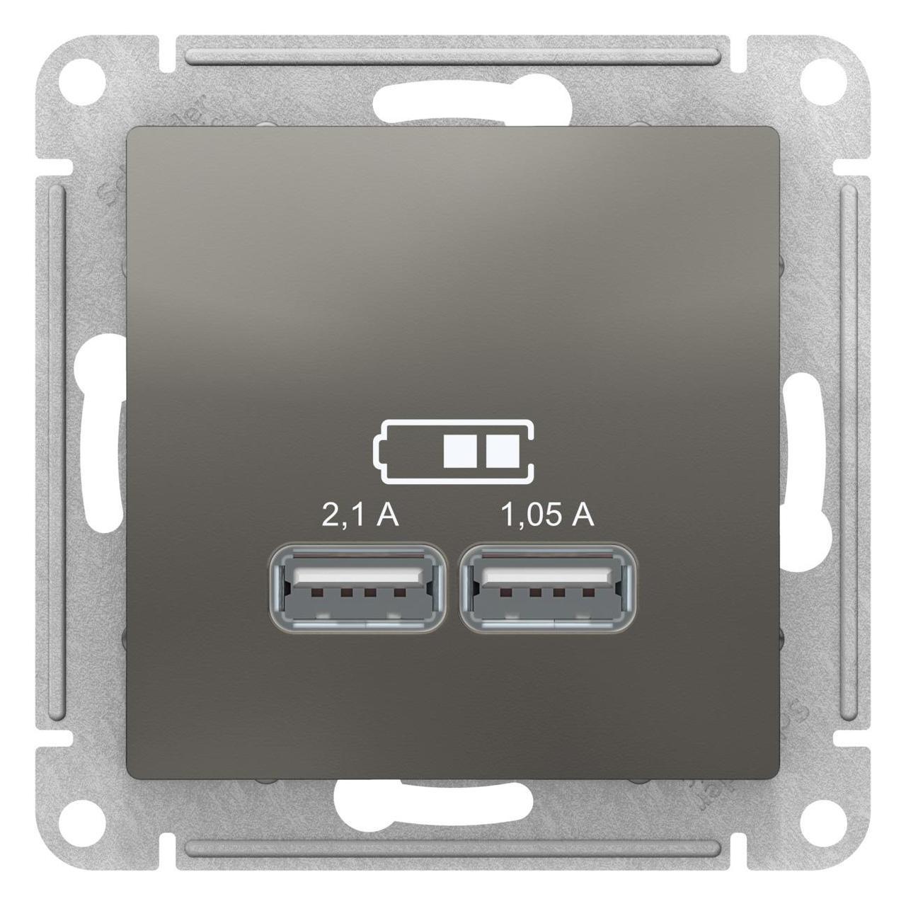 Розетка USB 2-ая 2100 мА (для подзарядки) , Сталь, серия Atlas Design, Schneider Electric