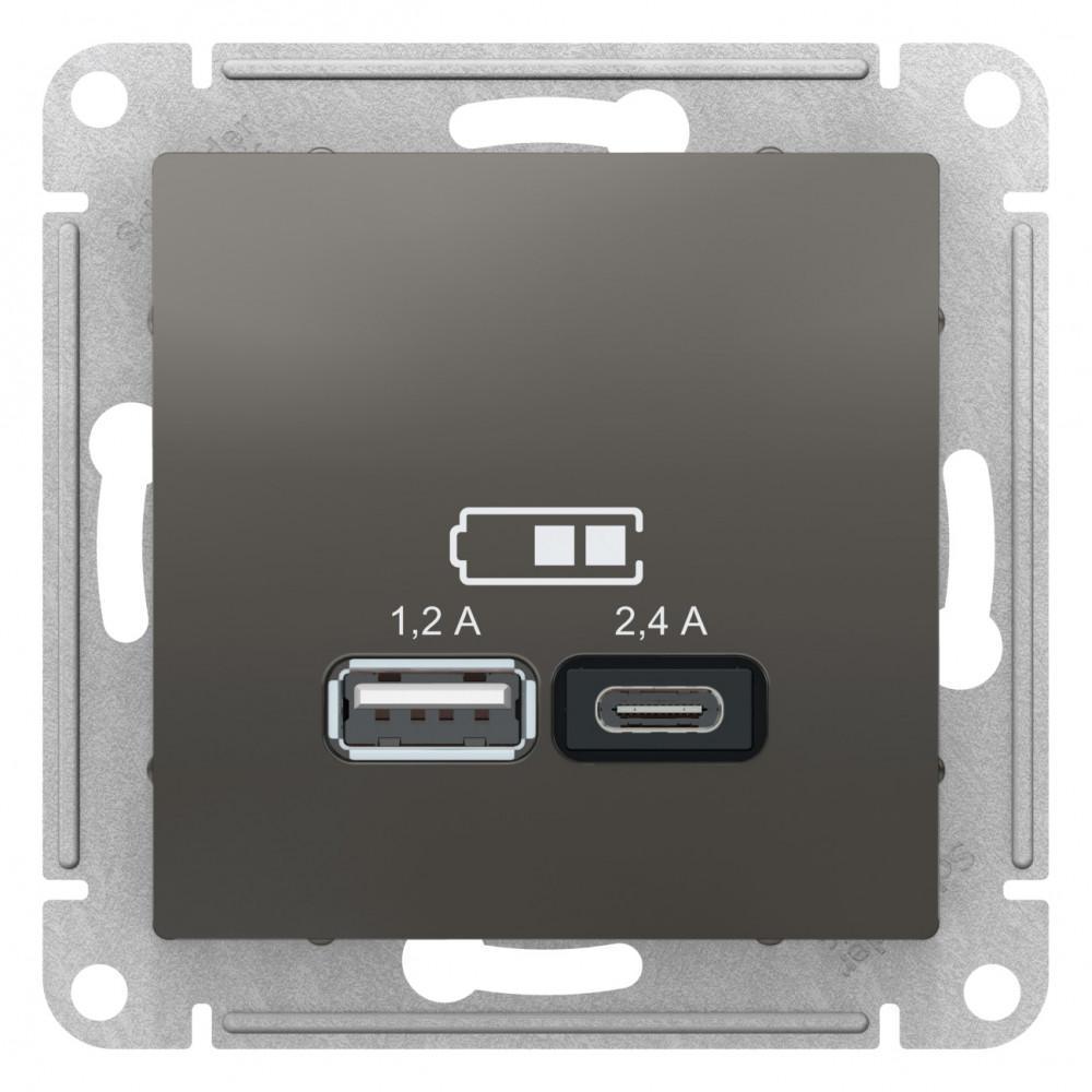 Розетка USB 2-ая тип А+С (для подзарядки) , Сталь, серия Atlas Design, Schneider Electric