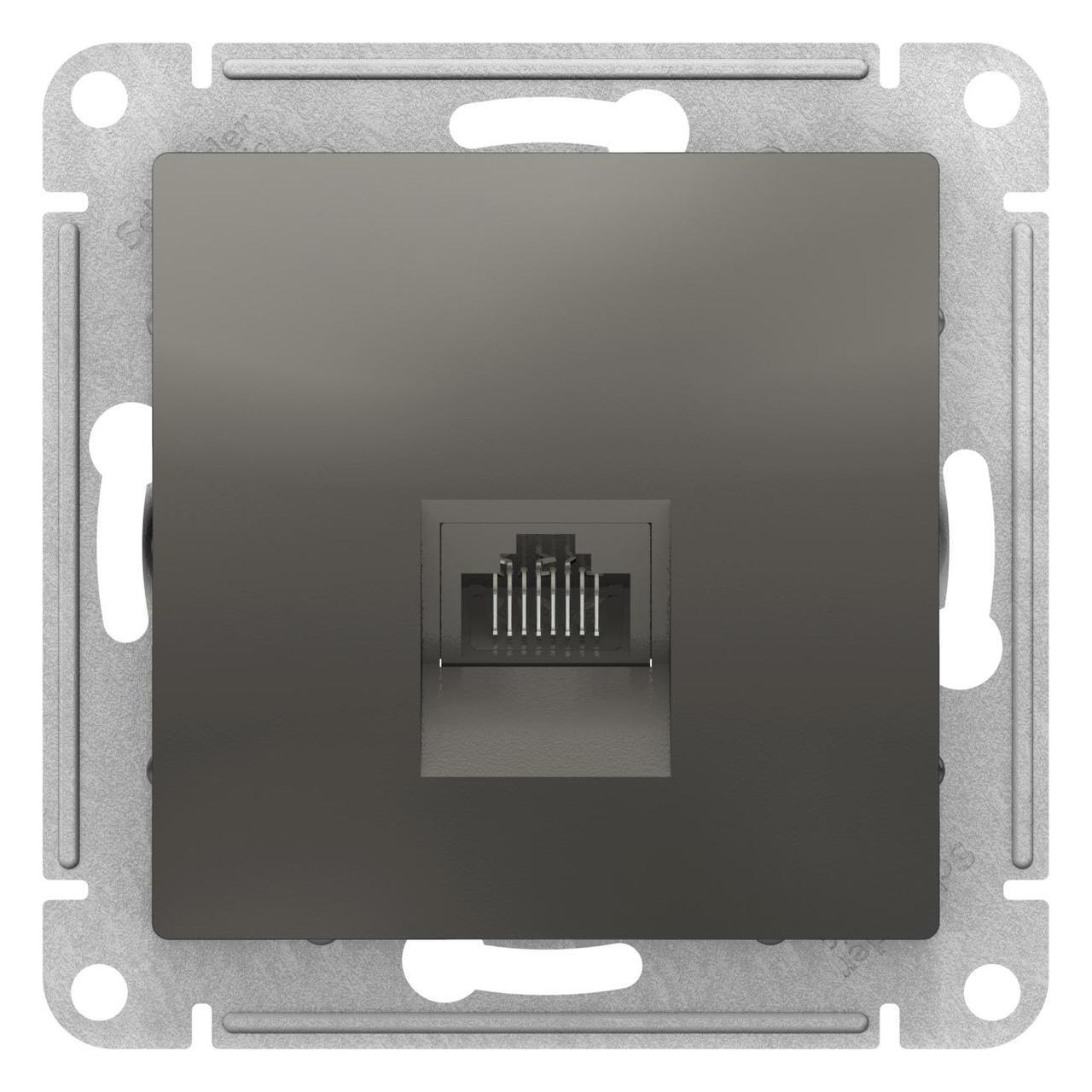 Розетка компьютерная 1-ая кат.5е, RJ-45 (интернет) , Сталь, серия Atlas Design, Schneider Electric